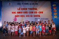 Children of employees honored for good achievements during school year 2015-2016 in commendation ceremony held by Vinataba Saigon Trade Union